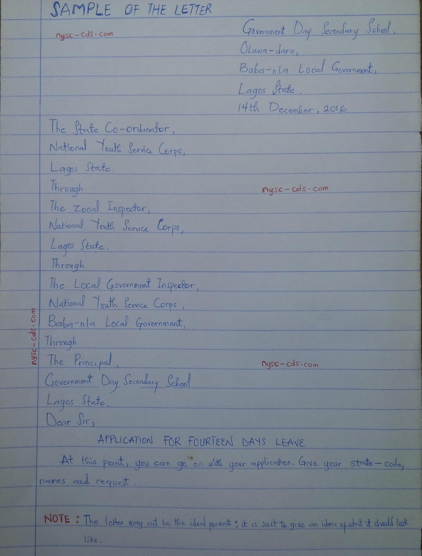 Nysc Leave Letter Format